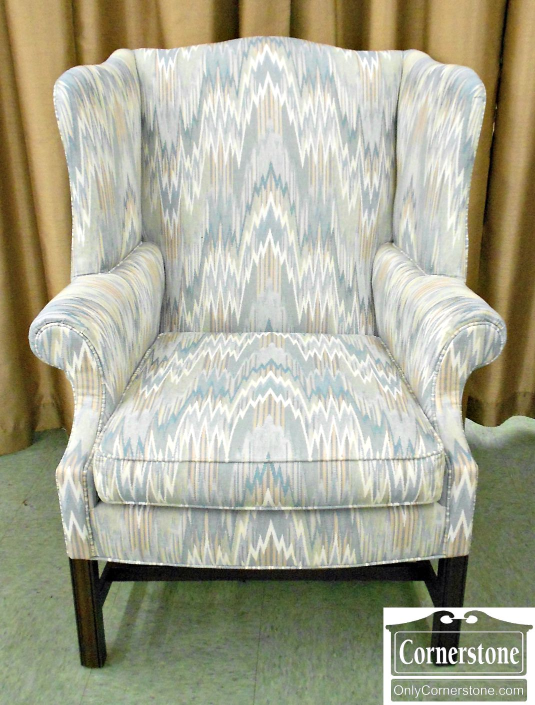 5351-8 Pearson Flame Stitch Upholstered Wing Chair