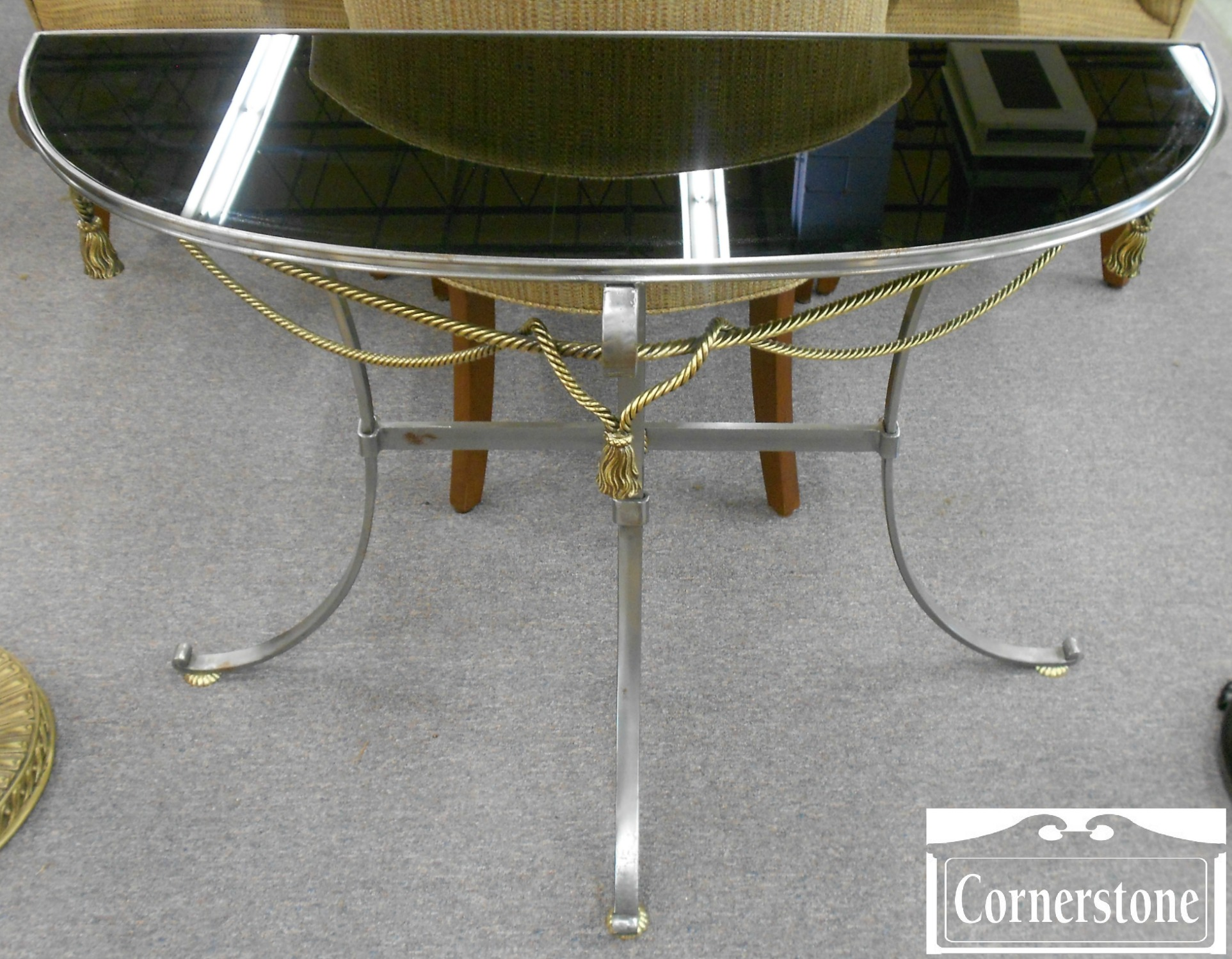 5370-553 Metal Base Demilune Wall Table with Black Glass Insert