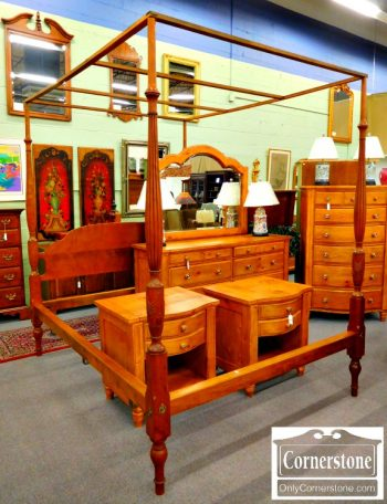 5476-66 Cabinet Made by Charles Bender Solid Cherry Queen Poster Bed