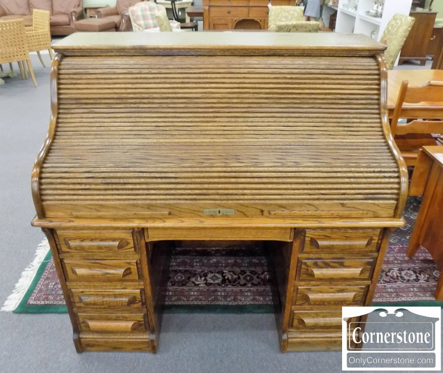 Charmant Solid Oak Victorian Style Roll Top Desk With Green Leather