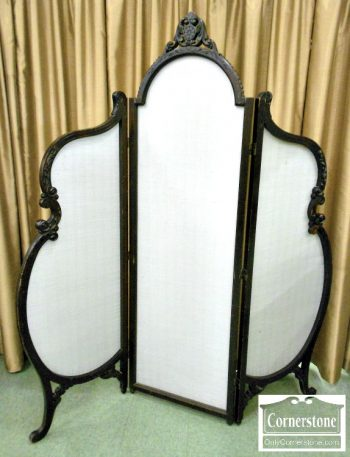 5665-38 French Style 3 Panel Screen with Fabric