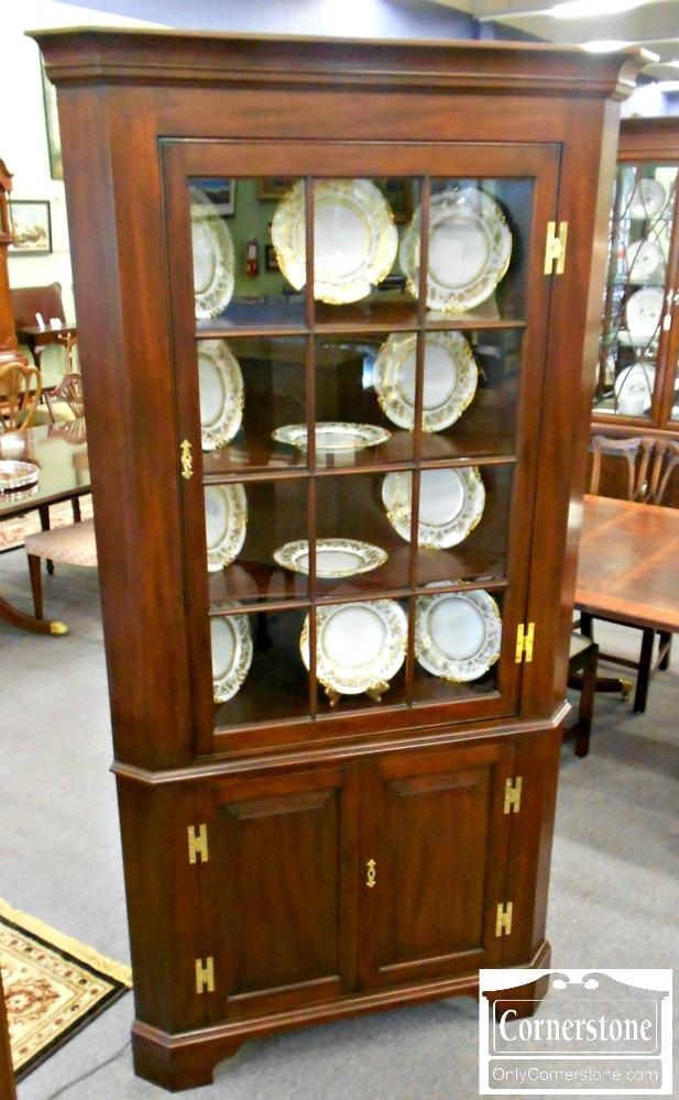 5666-386 Henkel Harris Solid Mahogany 12 Pane Fairfax Corner Cabinet