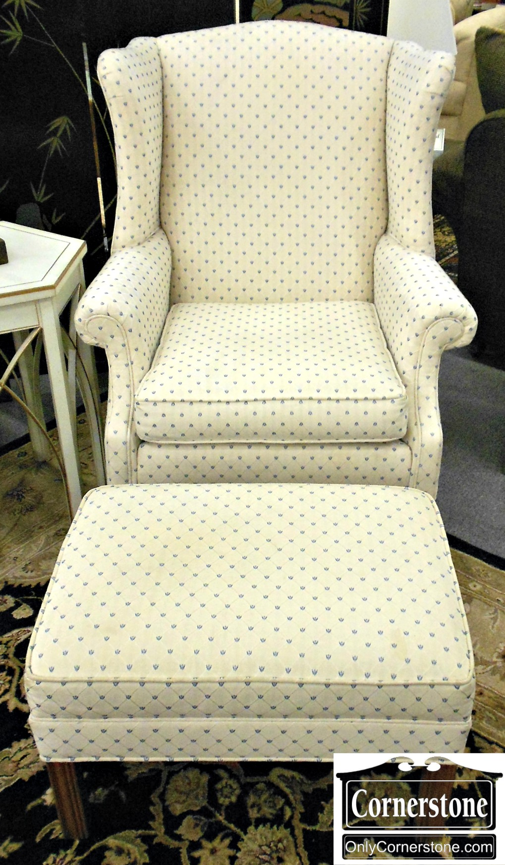 5666-388 Ethan Allen Wing Chair and Ottoman