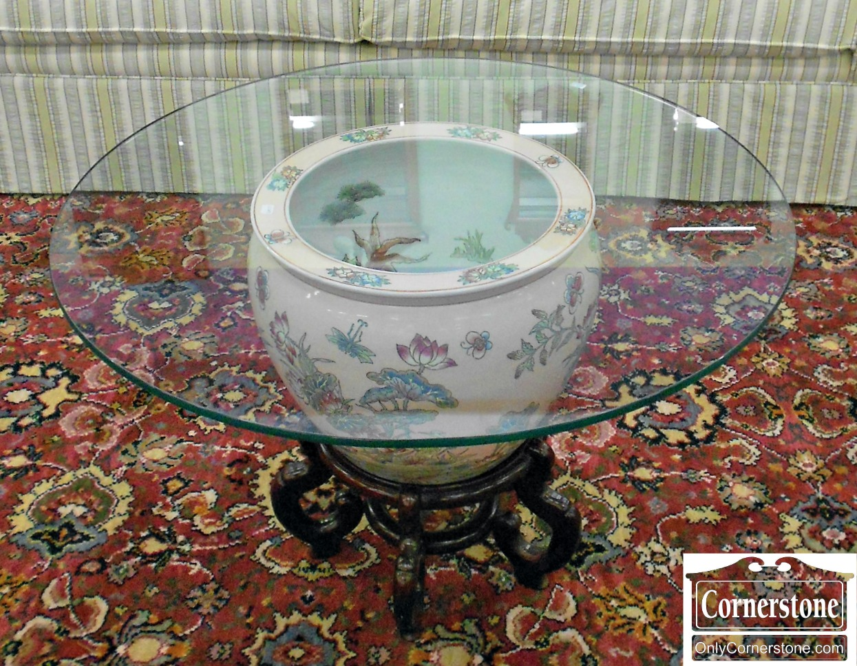 5666-427 Chinese Porcelain Bowl Glass Top End Table