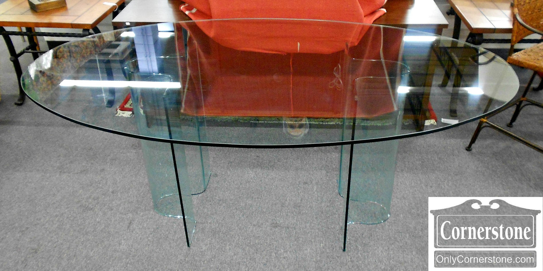 5666-461 Fiam Italia Contemporary Oval Glass Dining Table