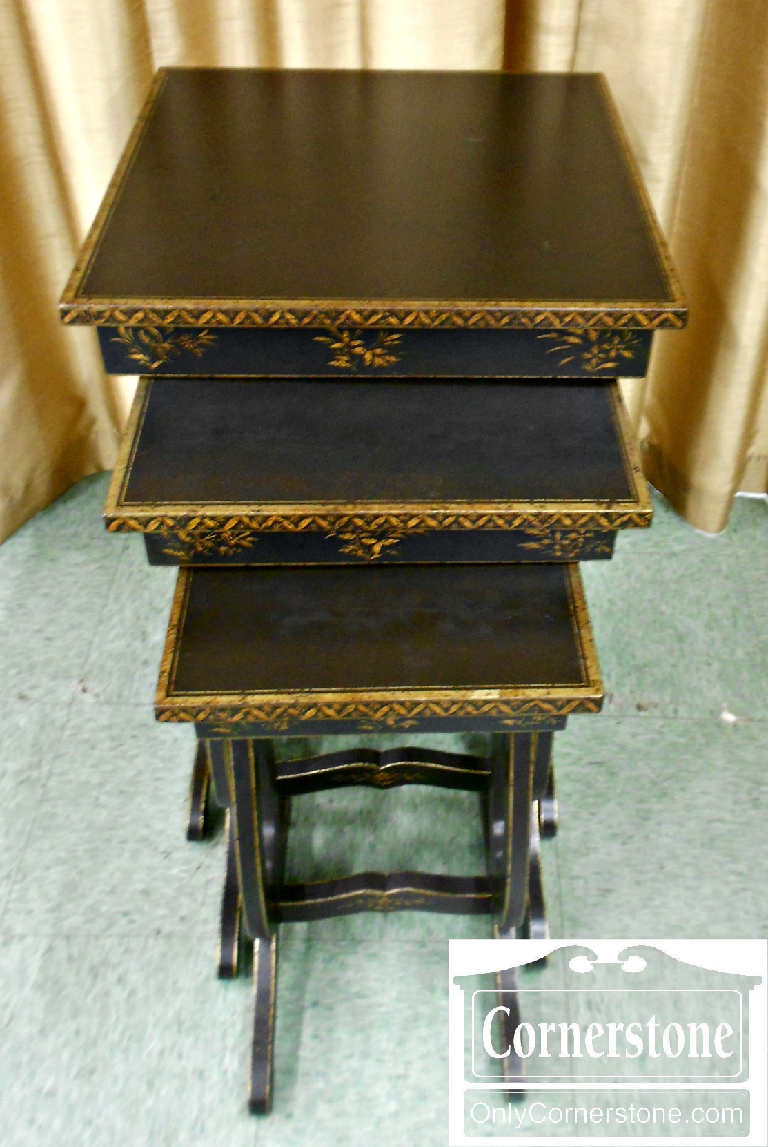 5666-466 Black Nesting Tables with Gold Decoration