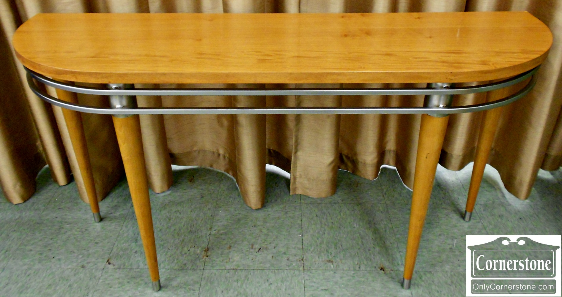 5670-430 Ethan Allen Modern Maple Demilune Wall Table