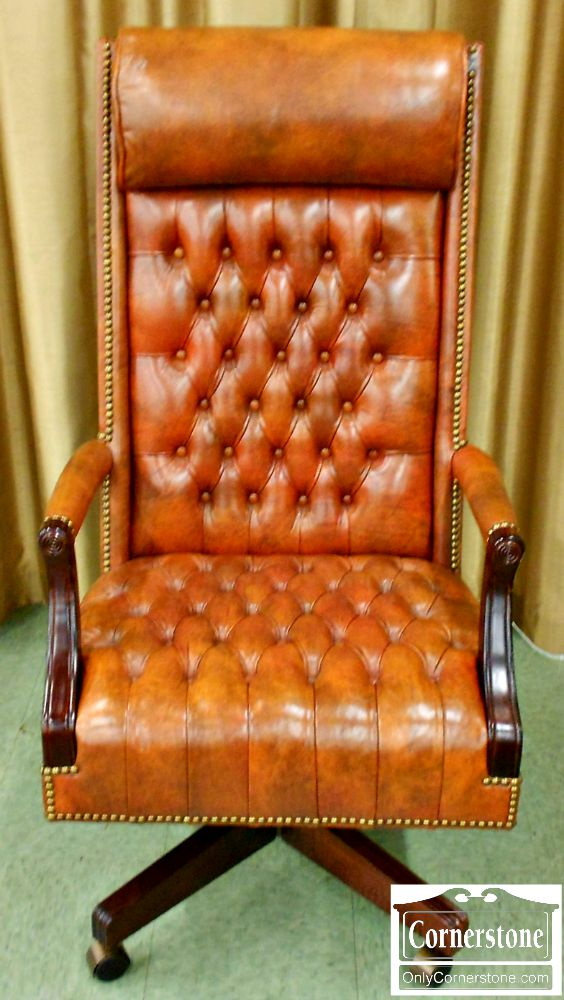 5670-513 Hickory Chair Tufted Leather Executive Desk Chair