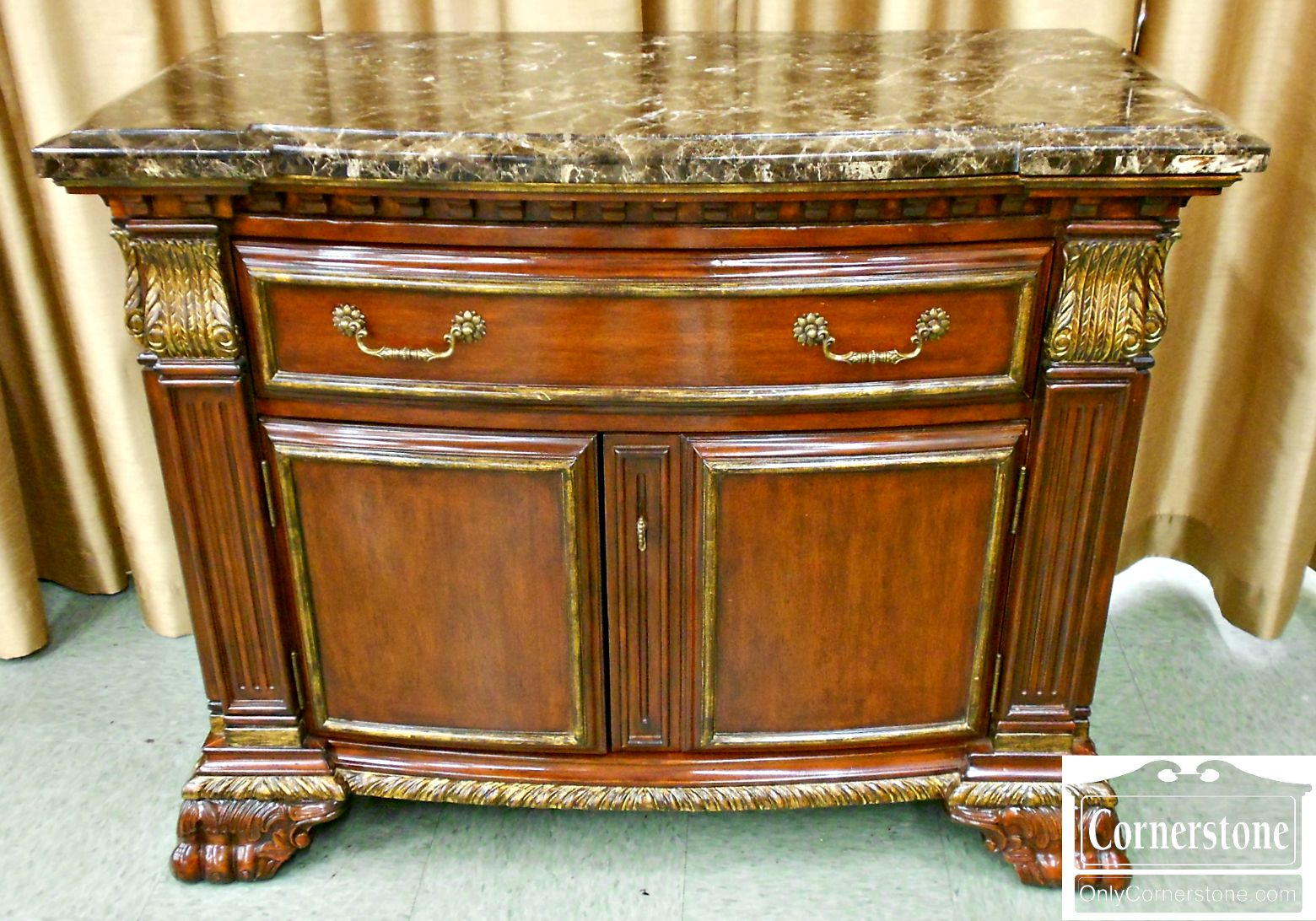 5670-515 Marge Carson French Empire Marble-Top Cabinet or Buffet