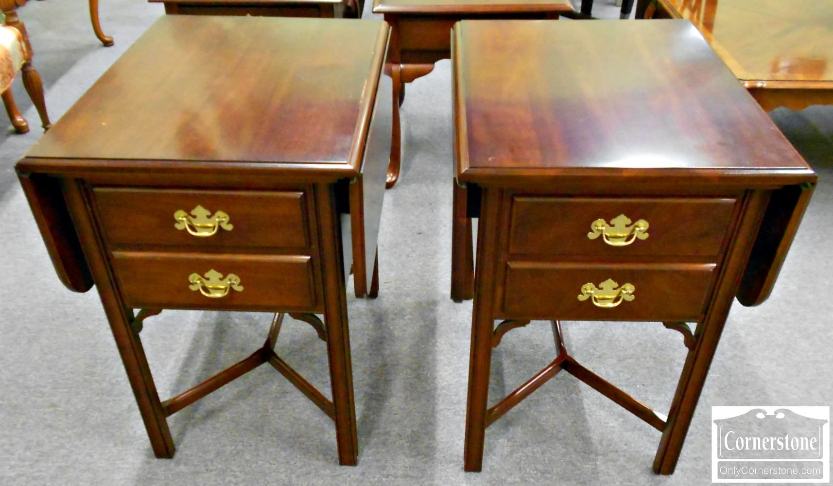 5670-546 Pair of Solid Cherry Drop Leaf End Tables