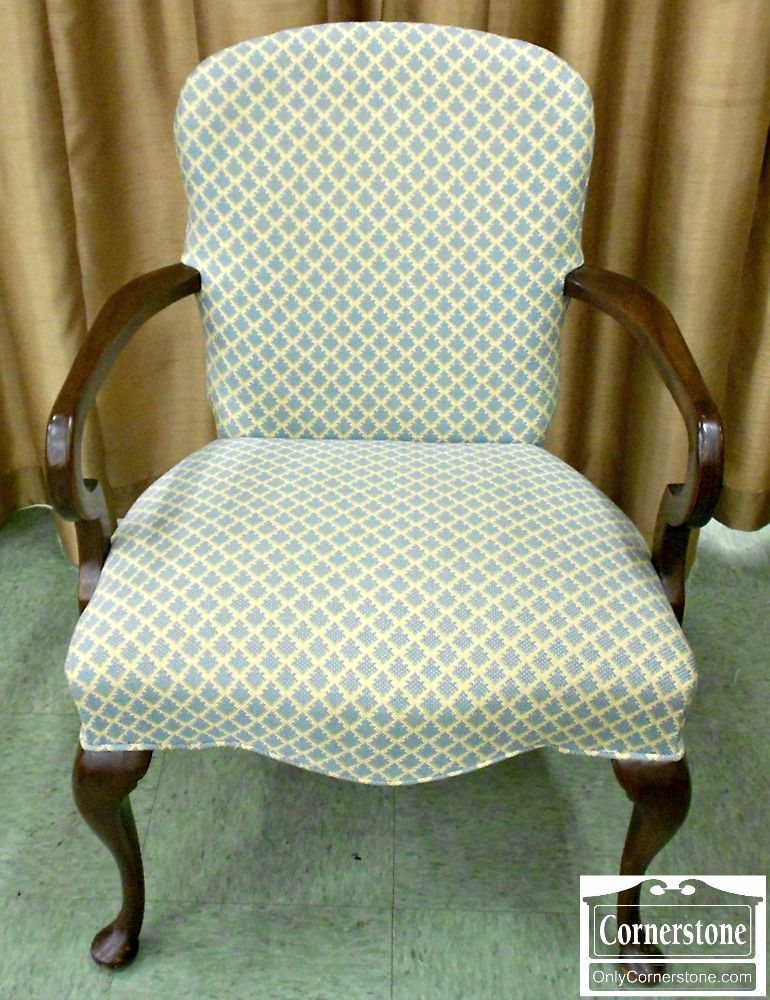 5670-582 Hickory Chair Solid Mahogany Queen Anne Occasional Chair