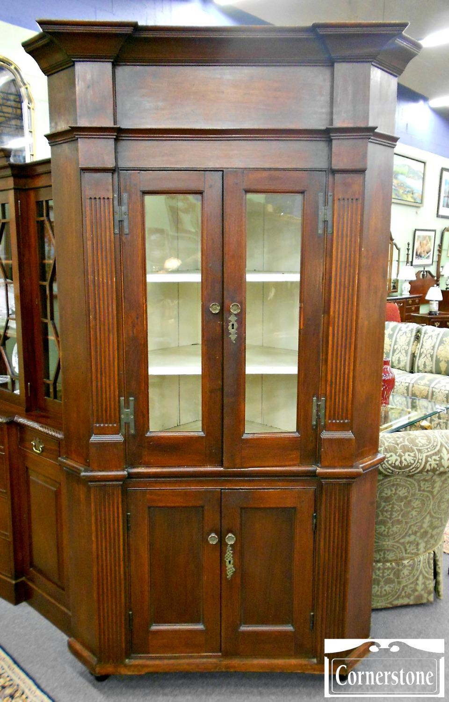 5670-59 Antique Walnut Corner Cabinet