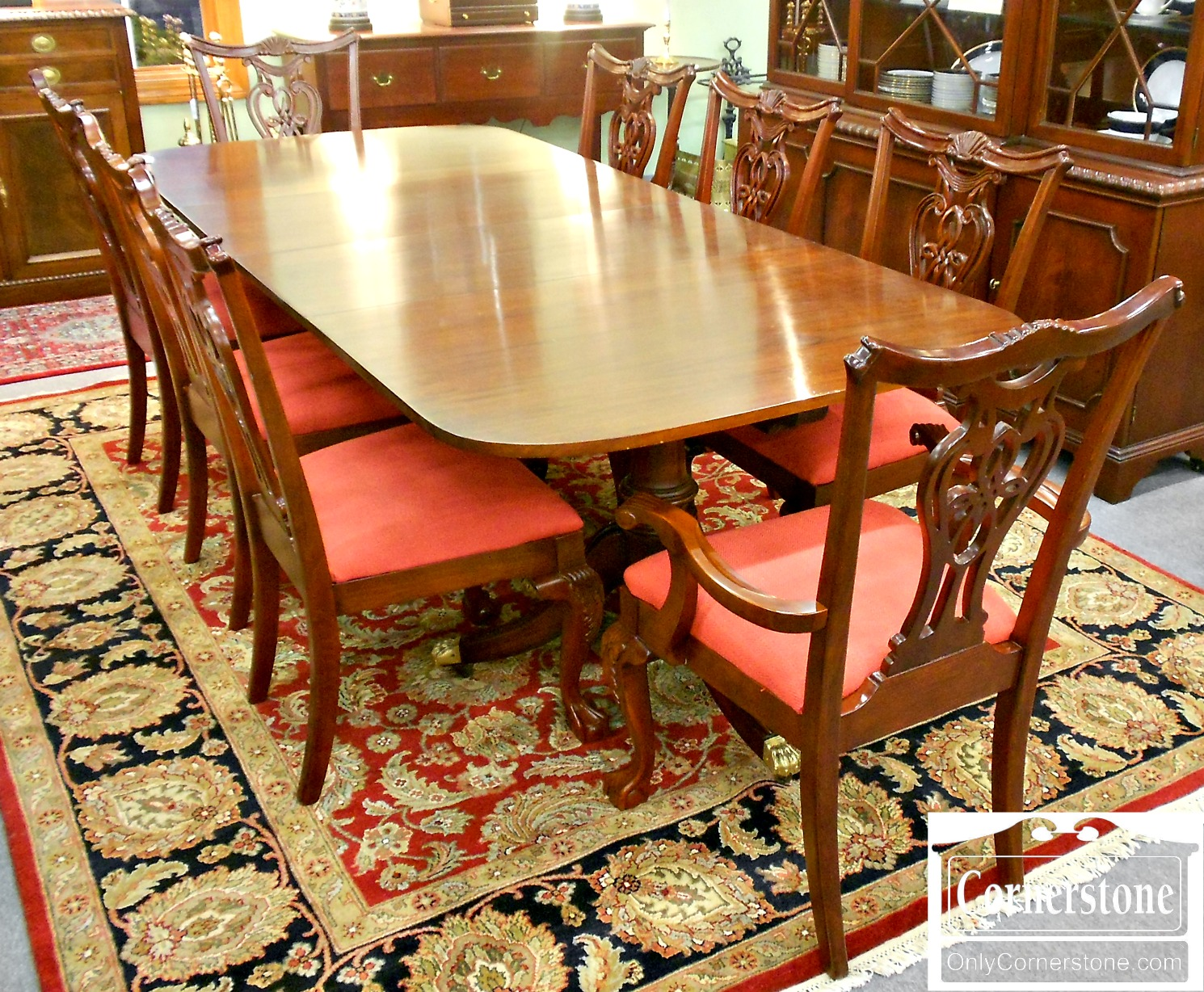 5670-633 Set of 8 Pennsylvania House Cherry Chippendale Chairs-3