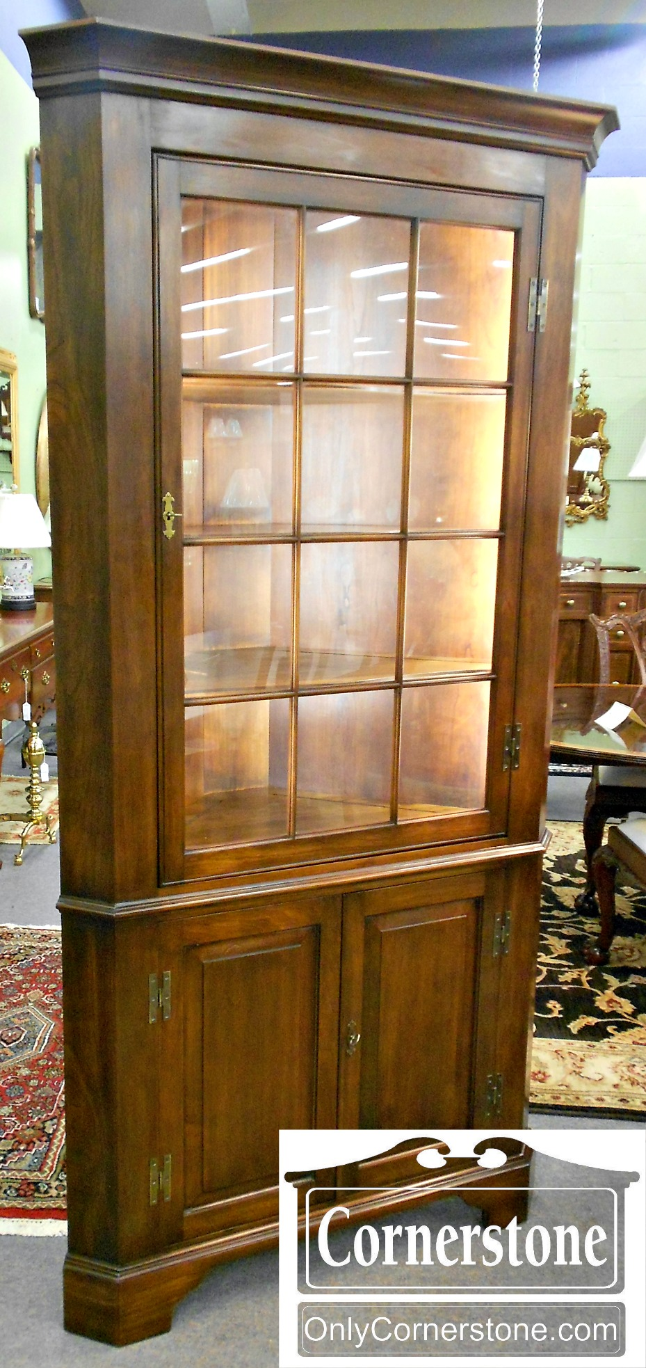 5670-667 Henkel Harris Solid Cherry 12 Pane Corner Cabinet in Finish #35