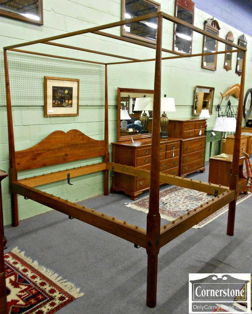 5670-683 Stephen Van Ormer Cabinet Made Solid Cherry Queen Canopy Bed Queen Tester Bed