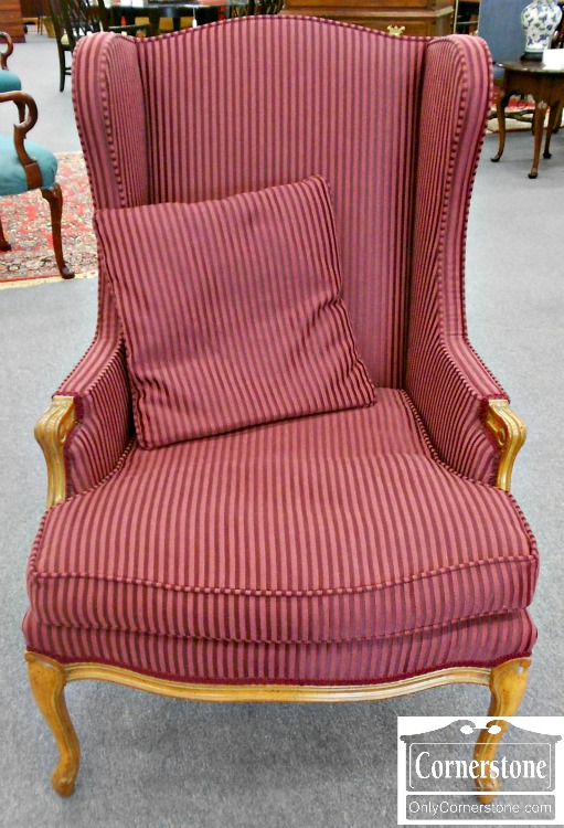 5670-684 Burgundy Striped French Style Wing Chair