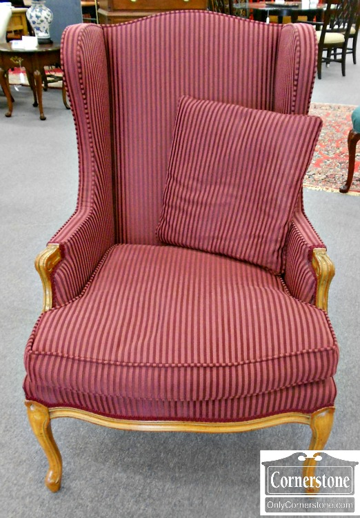5670-685 Burgundy Striped French Style Wing Chair