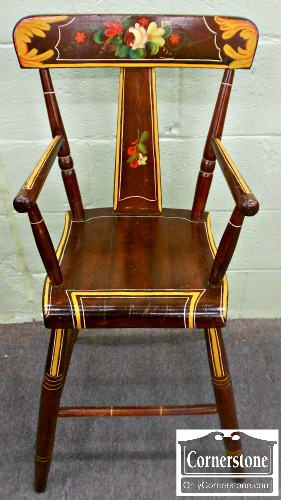 5670-698 Antique Decorated High Chair