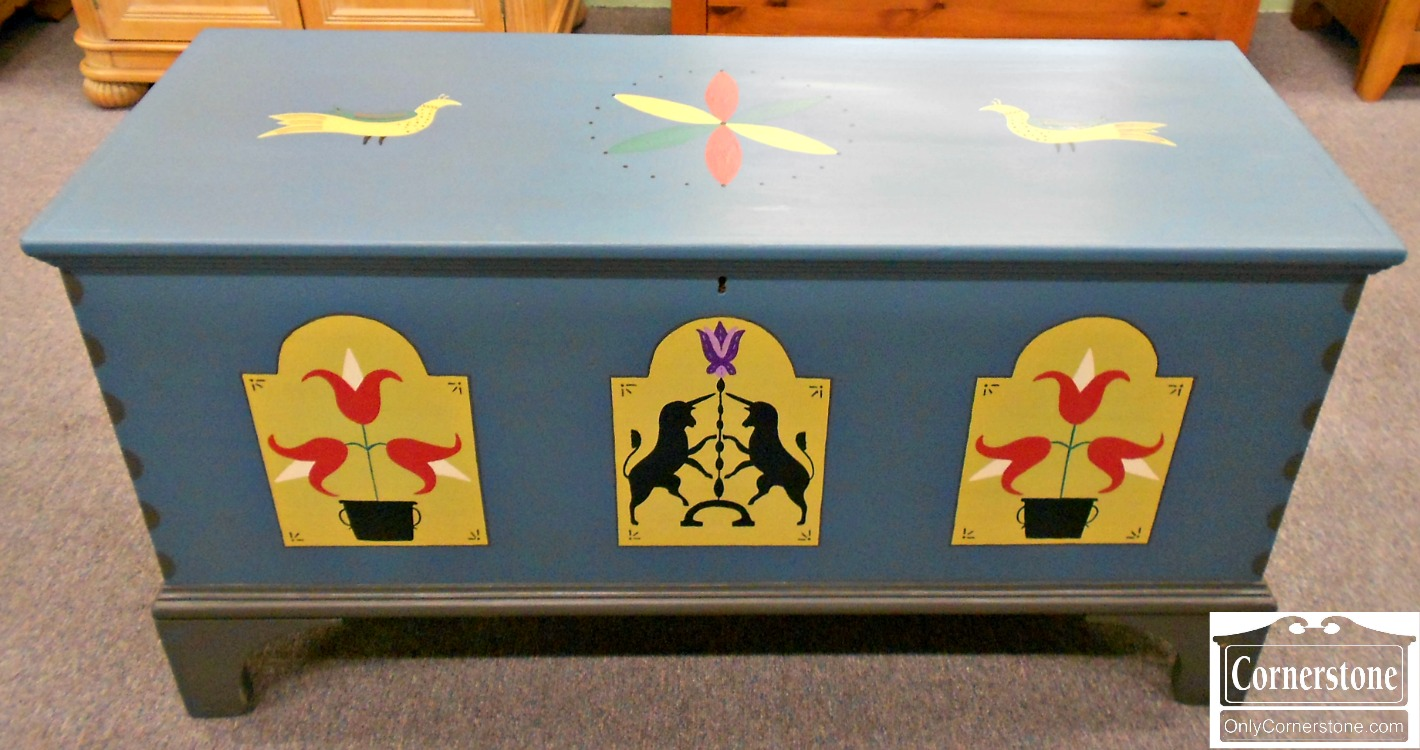 5670-703 Blue Decorated Blanket Chest