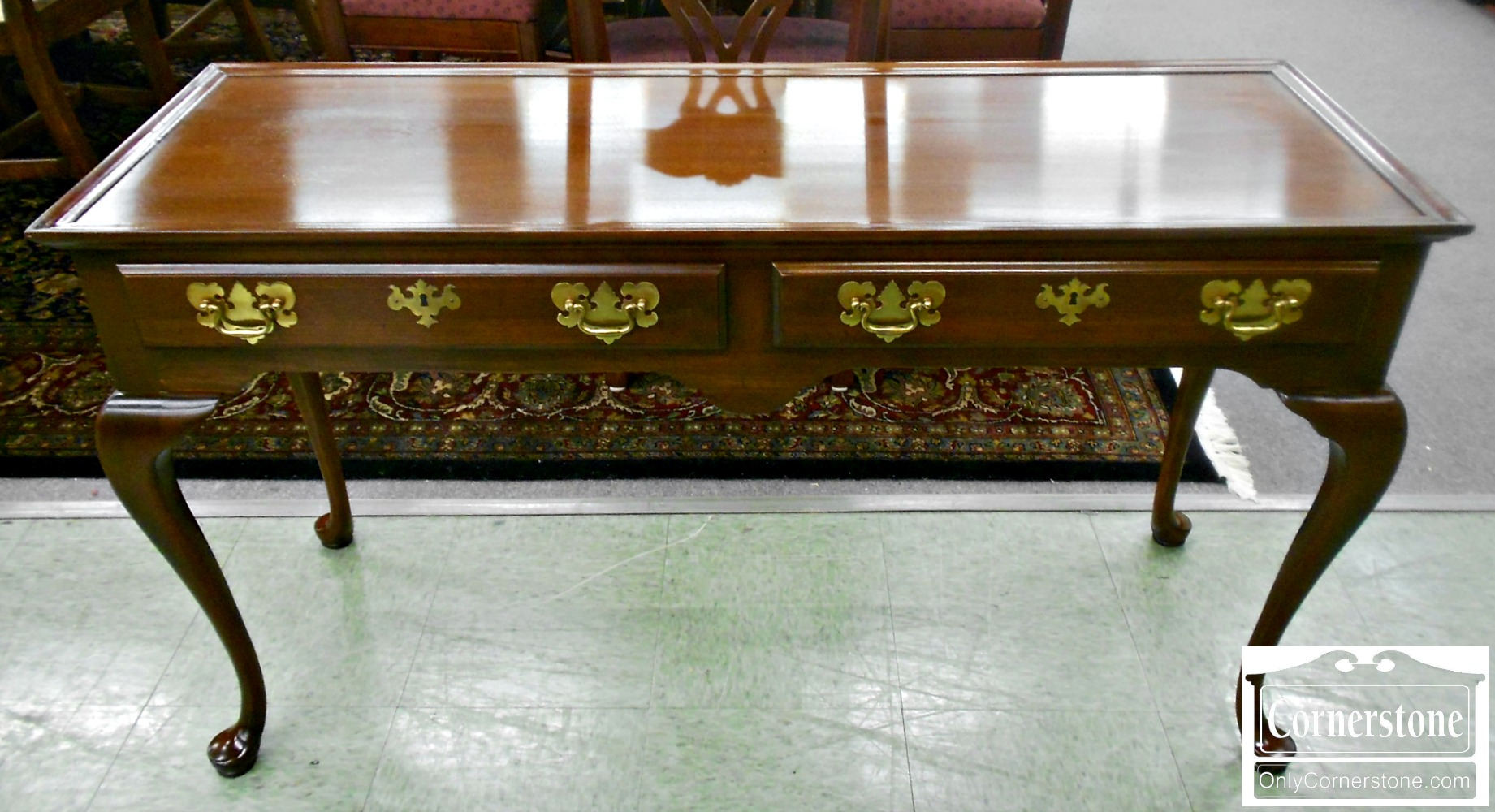 ahogany Queen Anne 2 Drawer Sofa Table