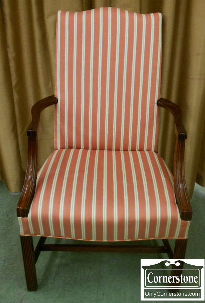 5670-709 Hickory Chair Solid Mahogany Striped Martha Washington Occasional Chair