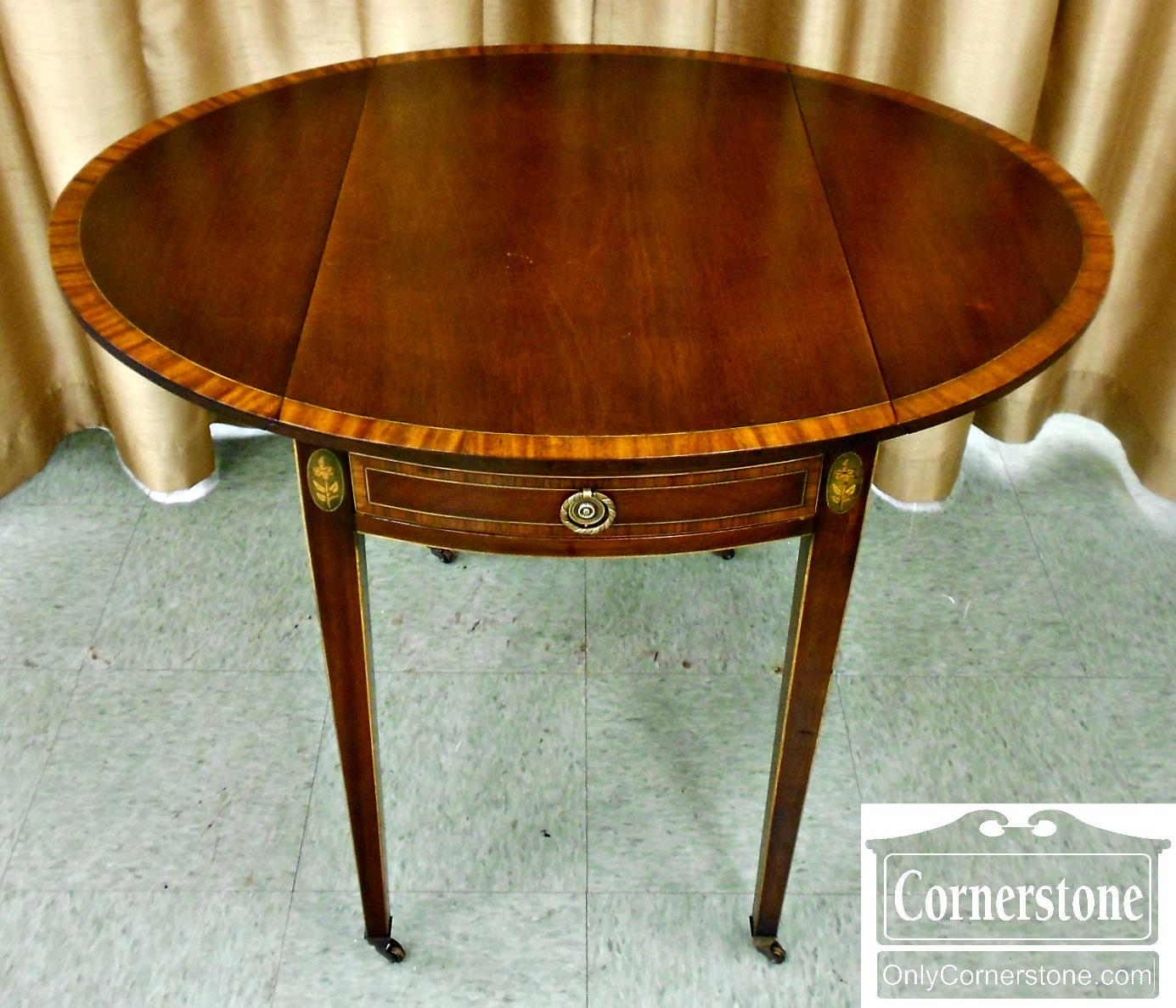 5670-712 Cabinet Made for John Wanamaker Mahogany Banded Inlaid Pembroke Table-2