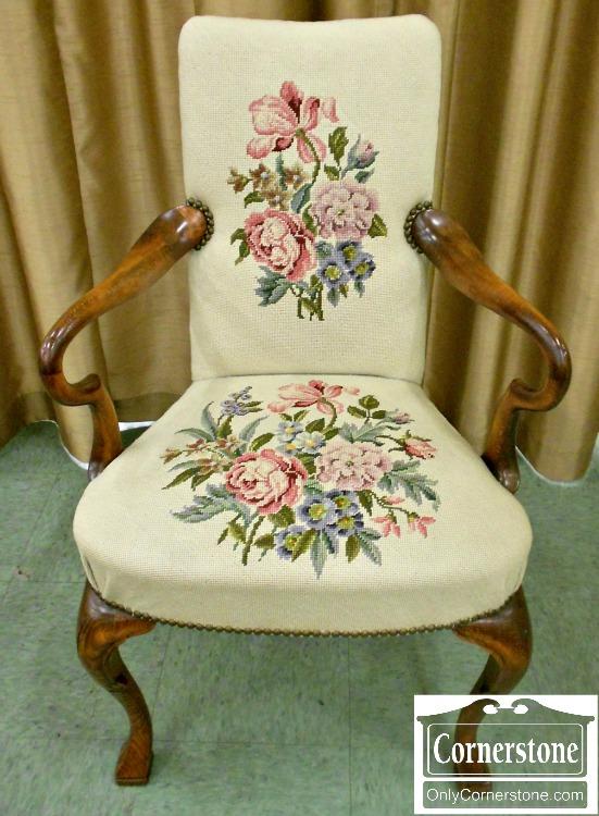 5670-754 Queen Anne Needlepoint Martha Washington Chair