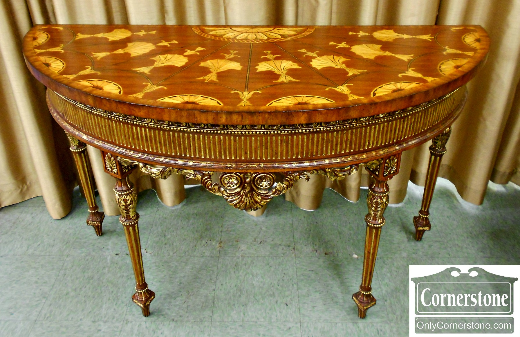 5670-796 Maitland Smith Inlaid Demilune Console