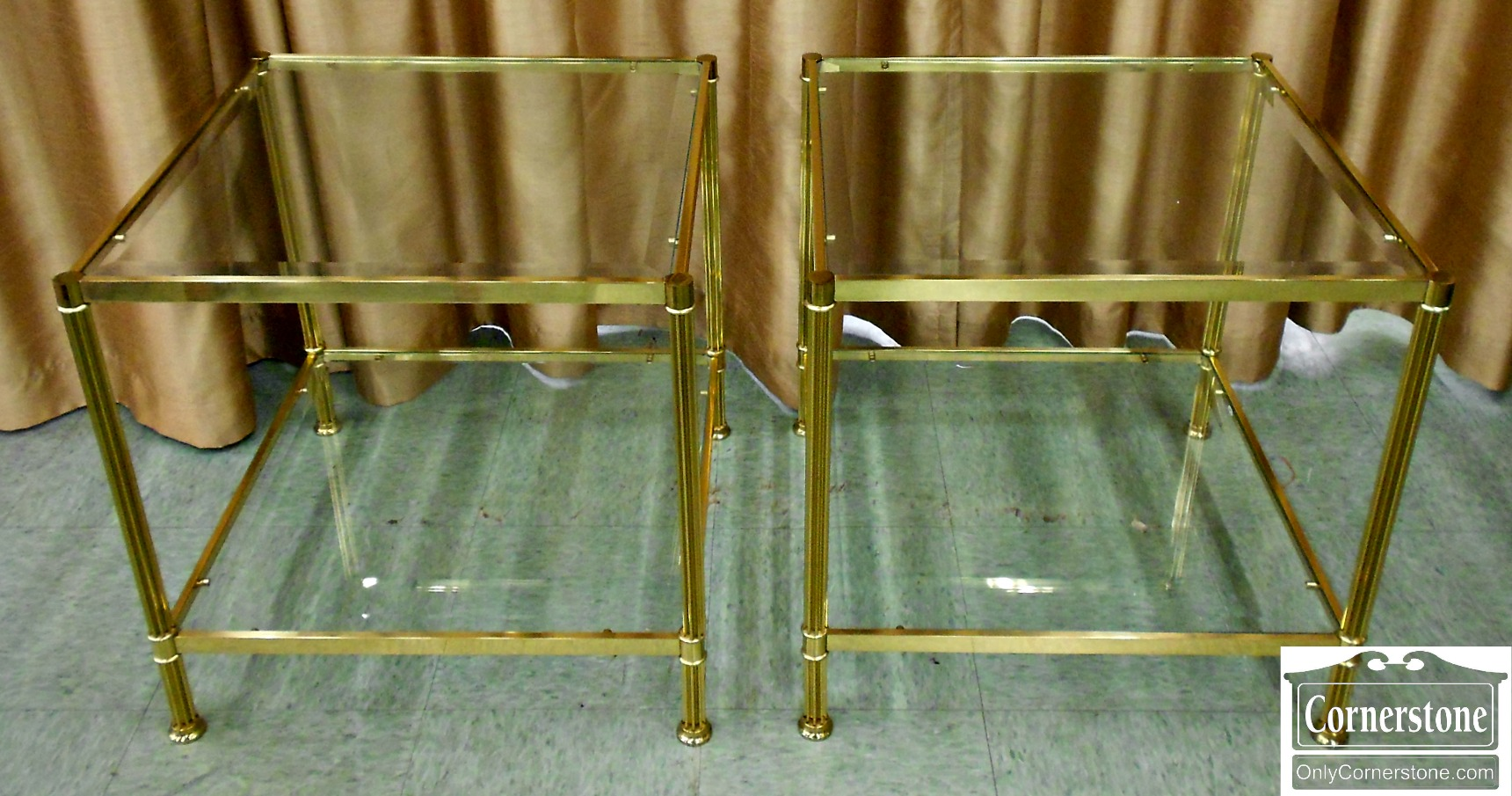 5670-833 Pair of Brass and Glass End Tables