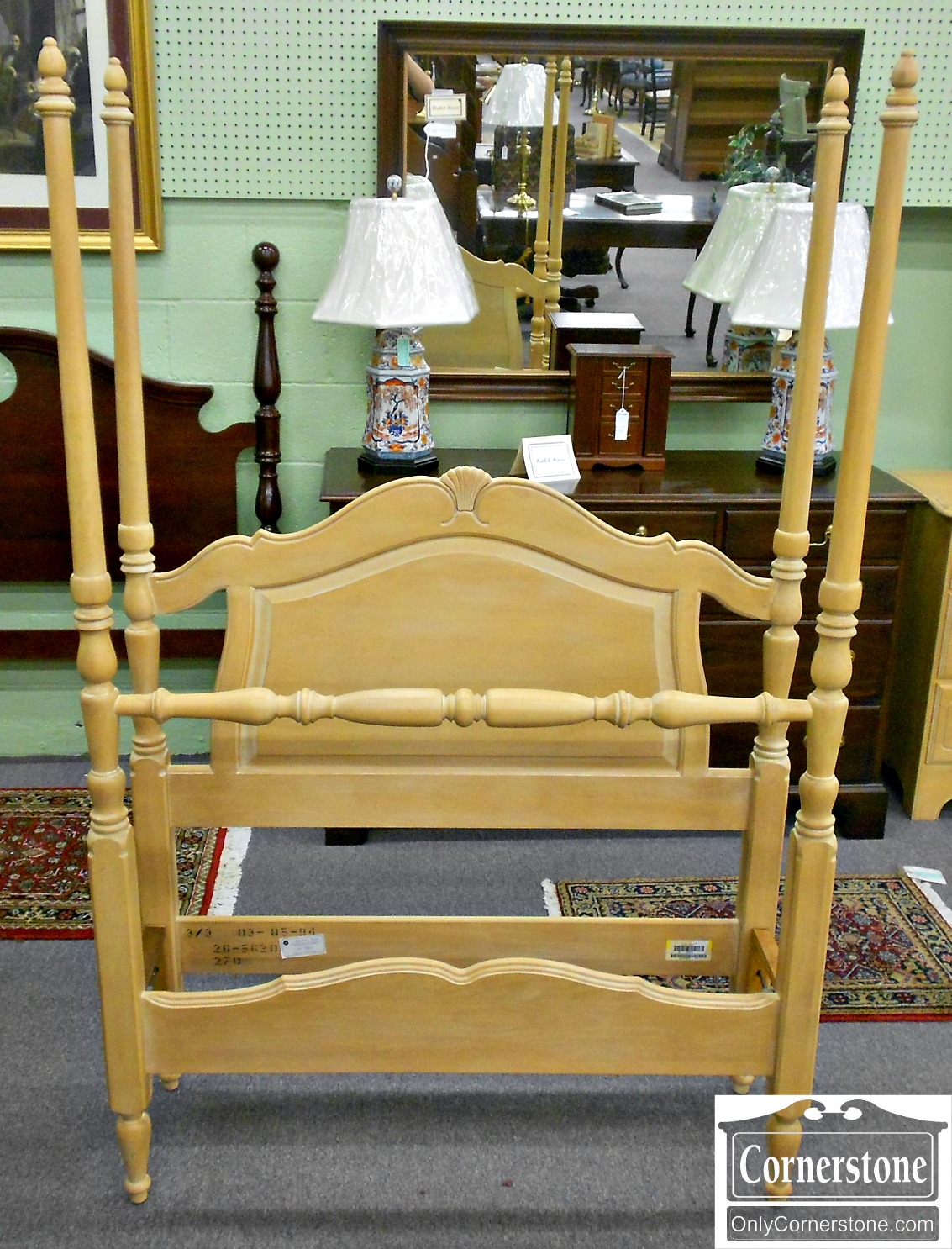 5670-857 Ethan Allen Country French White Washed Maple Twin Poster Bed