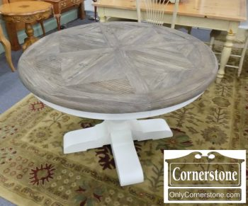 5690-5 - Restoration Hardware Contemporary Round Table - White Base - Weathered Top