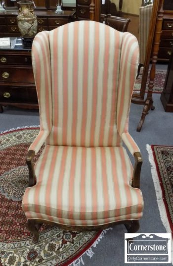 5741-2 - Bernhardt French Style Salmon Striped Wing Chair