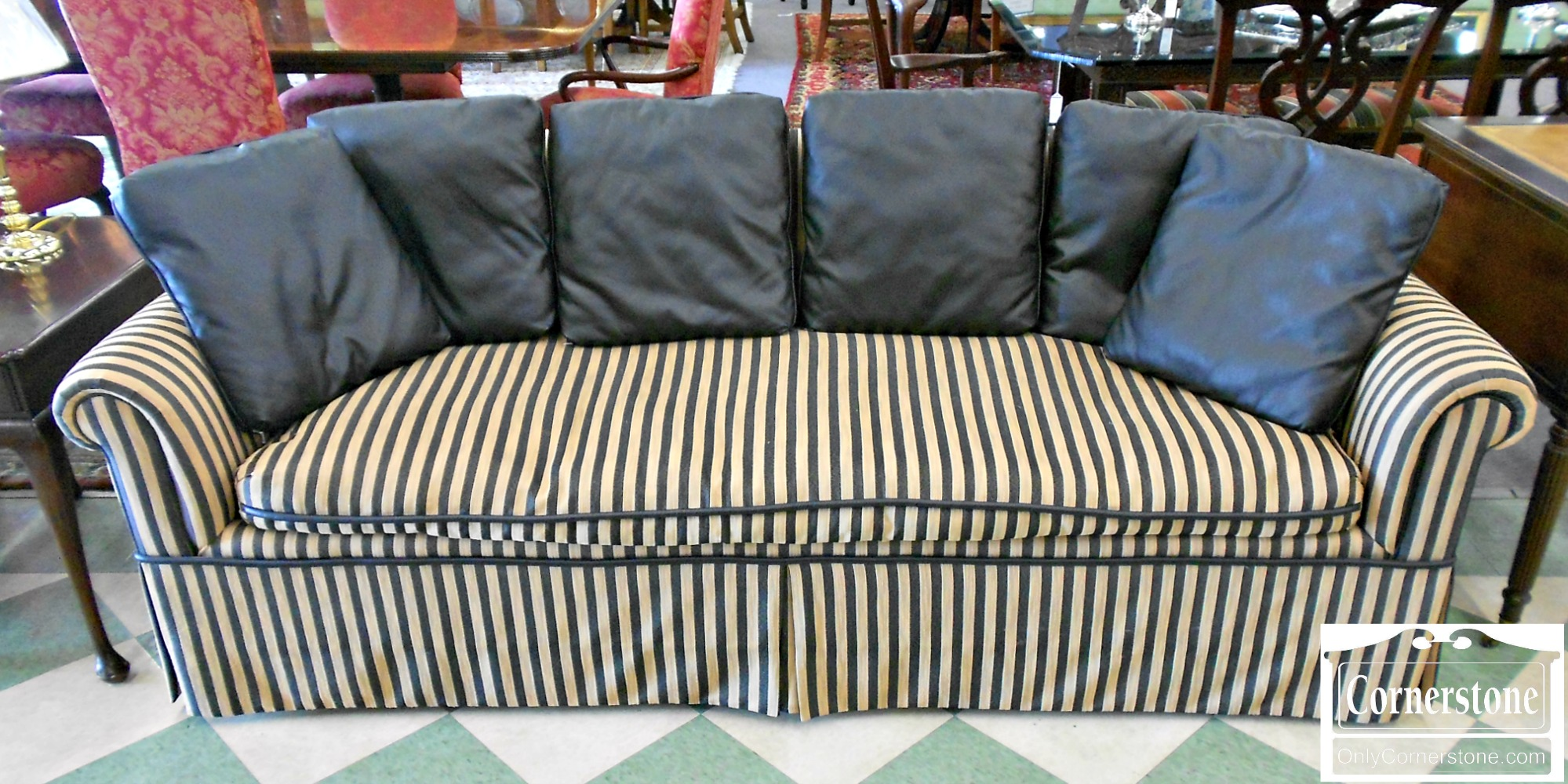 5786-2 Black & Gold Upholstered Sofa
