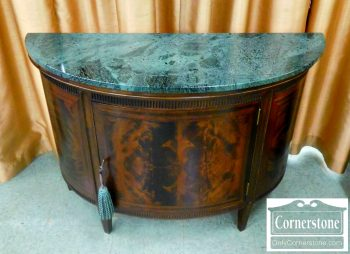 5792-7 Mahogany Demilune Marble Top Cabinet