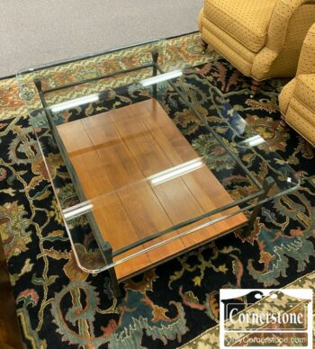 5811-23-Ethan Allen Glass Top Coffee Table