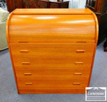 5861-27 - Teak Scandinavian Roll Top Desk