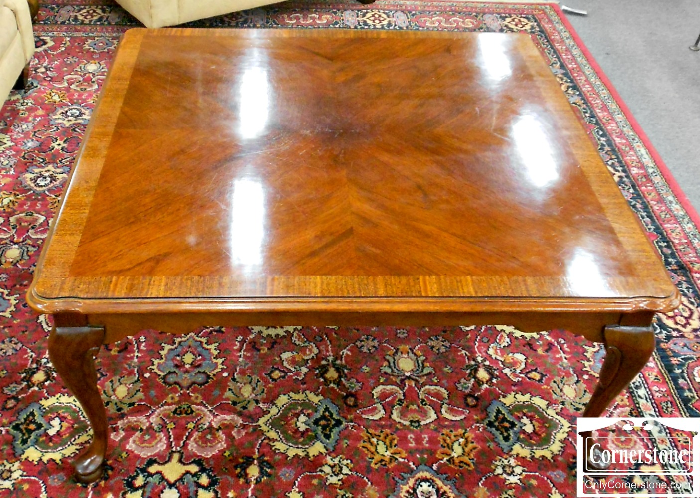 5864-1 Square Banded Mahogany Queen Anne Coffee Table Cocktail Table