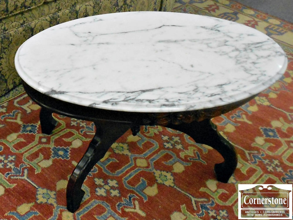 5922-7 Victorian Reproduction Oval Marble Top Coffee Table