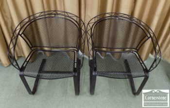 5938-43 - Pair of Black Iron Spring Chairs