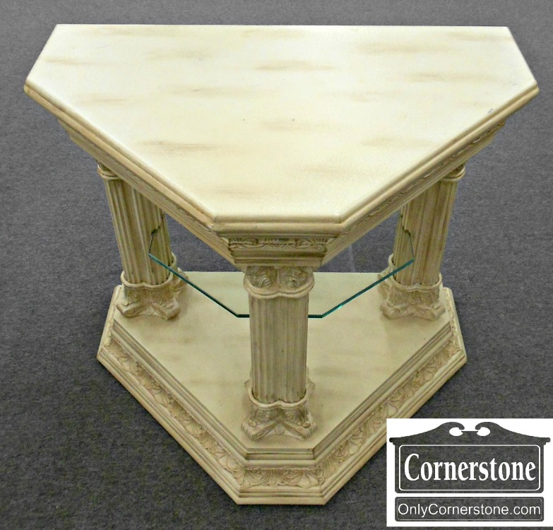 5960-153 White Painted Triangle Occasional Table