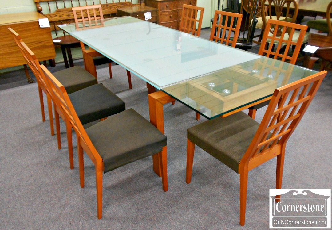 5960-20 Calligaris Italian Made Glass Top Dining Table & Chairs Set