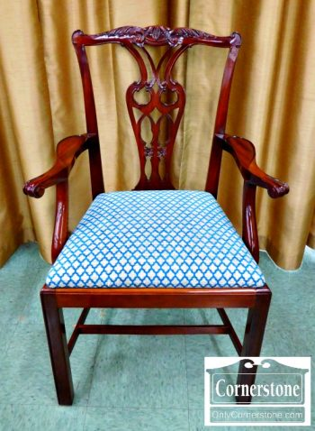 5960-279 Set of 10 Baker Solid Mahogany Chippendale Chairs-1