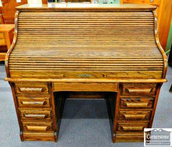 5960-335 Oak Crest Furniture Oak Victorian Style Roll Top Desk