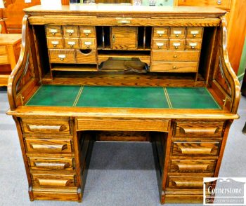 5960-335 Z Oak Crest Oak Victorian Style Roll Top Desk