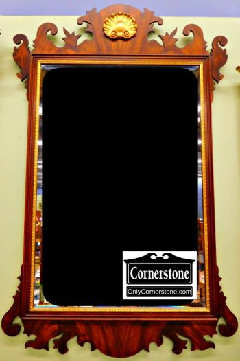5960-440 Gold Shelled Chippendale Beveled Mirror