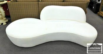 Room & Board White Microfiber Contemporary Curved Sofa