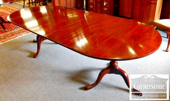 5960-535 Kittinger Solid Mahogany Pedestal Table with 3 Leaves