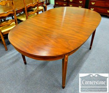 5960-551 Henkel Harris Solid Mahogany Hepplewhite Table with 2 Leaves in Finish #29