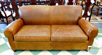 5960-555 Pottery Barn Brown Leather Sofa