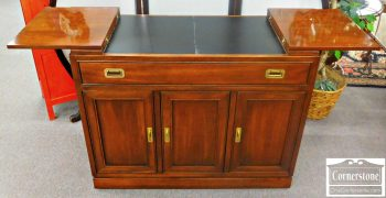 5960-570 Z Ethan Allen Solid Cherry Campaign Style Flip Top Server
